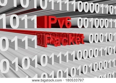 IPv6 packet in the form of binary code, 3D illustration