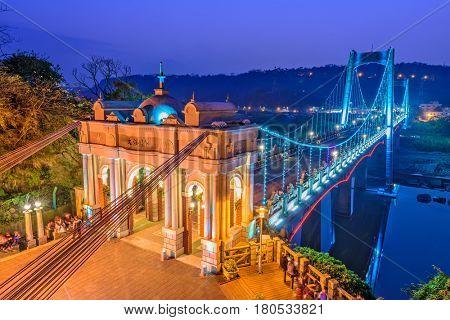 Daxi Bridge in Daxi, Taoyuan, Taiwan. (Text reads: