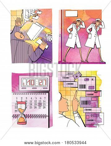 Business situation - audit. Head of the meeting Puzzled employees get out of the door holding their heads. Calendar and clock. Recalculation of boxes with bar codes. Staff in white coats. Digital illustration with elements of watercolor background
