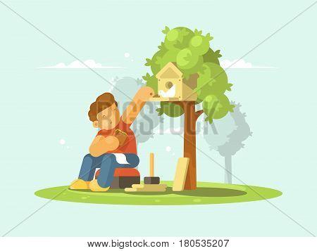 Young boy feeding bread crumbs bird in birdhouse. Vector illustration