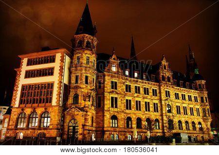 Rathaus in Wiesbaden Hessen Germany at night
