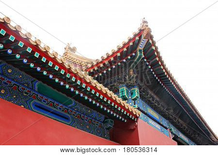 Detail of architecture in Forbidden City the Palace Museum served as imperial palace for Ming and Qing Dynasties (1368 - 1911) north of Tiananmen Square. Beijing China