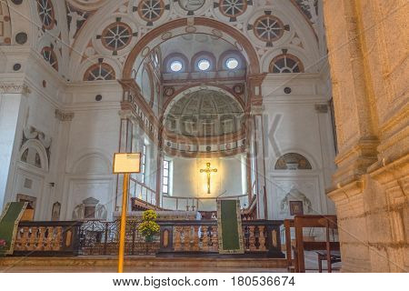 Milan, Italy - November 15, 2016: the main altar with bible lectern of church Santa Maria Delle Grazie.