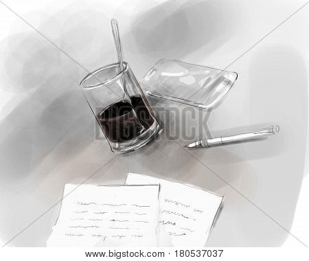 writer author desk writing pen and paper with glass of black coffee and mobile phone illustration drawing