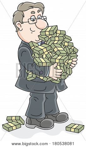 Businessman with a big bunch of money