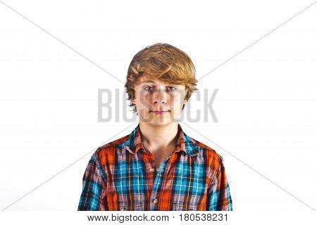 portrait of smiling cute boy in the studio