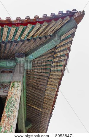 Detail of roof architecture in Forbidden City the Palace Museum served as imperial palace for Ming and Qing Dynasties (1368 - 1911) north of Tiananmen Square. Beijing China