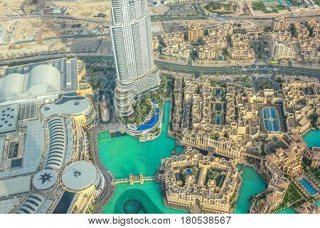 Dubai, United Arab Emirates - May 1, 2013: aerial view of Dubai Fountain area, Address Hotel and Burj Khalifa Lake in Dubai downtown, from top of the Burj Khalifa.