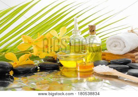 Spa setting with palm leaf