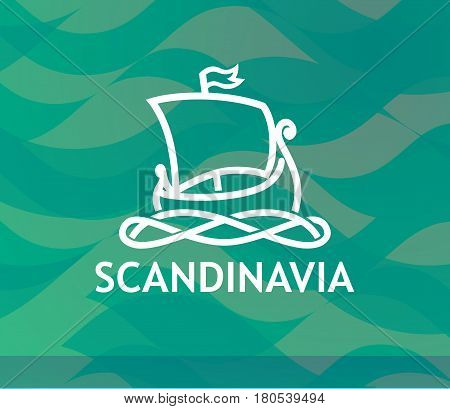 Logo of Scandinavian Drakkar in white Lineart Style on dark turquoise textured background. Modern Decor of Tour to Scandinavia.