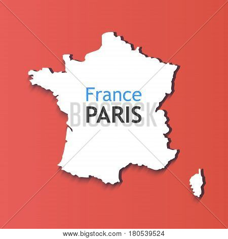 White Silhouette of France. Caption on Contour of Map - France Paris. Symbol isolated on red background.