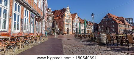 STADE, GERMANY - MARCH 27, 2017: Panorama of bars and restaurants in the historical center of Stade, Germany
