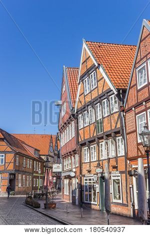 STADE, GERMANY - MARCH 27, 2017: Cobblestoned street in the center of Stade, Germany