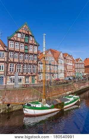 STADE, GERMANY - MARCH 27, 2017: Historical ship in the old harbor of Stade, Germany