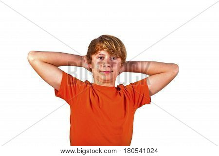 Portrait Of Cute Boy With Orange Shirt Gesturing With His Arms