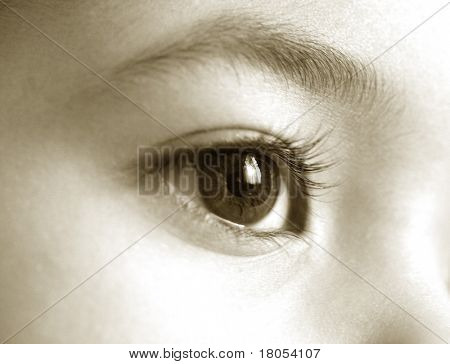 Big eye in sephia effect
