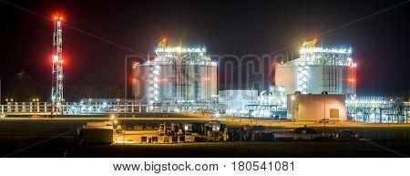 LNG terminal in SwinoujsciePoland.Night photo.Baltic sea coast