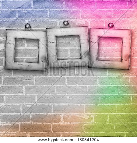 Old Wooden Frame On The Brick Wall Background