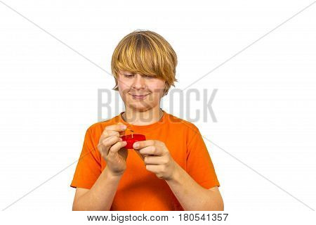 Boy Likes To Play With Matches And A Candle