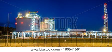 LNG terminal in Swinoujscie.Poland.Night photo,Baltic sea coast