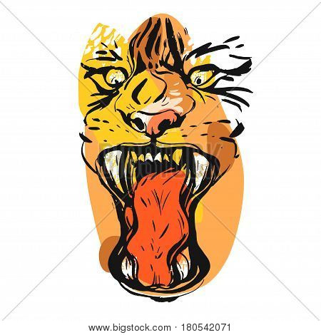 Hand drawn vector abstract graphic drawing of anger tiger face in orange colors isolated on white background.Hand made exotic collage illustration.Wild soul concept.Tigers head isolated.Logosign