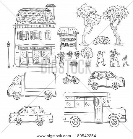 Vector black and white set of sketch illustration vintage European home, trucks and cars, coming people. Kit of outdoor plants and flowers in pots
