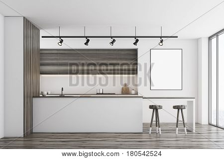 Front view of a white kitchen with a bar and dark wooden furniture. There is a blank framed poster on a wall. 3d rendering mock up