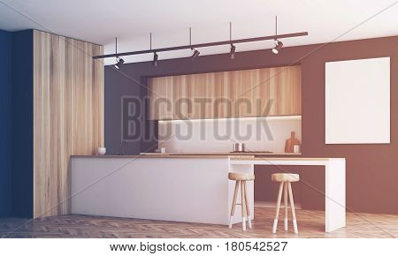 Side view of a black kitchen with a bar and light wooden furniture. There is a blank framed poster on a wall. 3d rendering mock up toned image