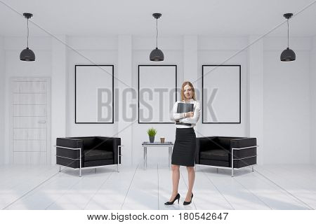Portrait of a businesswoman standing with a folder in an office with two leather armchairs and framed posters on the wall. 3d rendering mock up