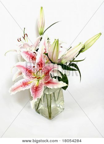 A bunch of Stargazer lily - Lilium Stargazer in a vase of water, isolated on white
