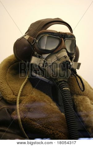 Vintage flying gear on a mannequin showing a hat, face mask and thick furry coat