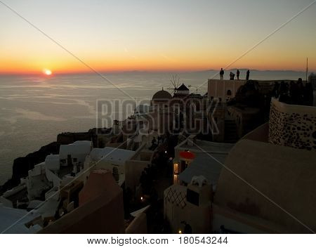 Breathtaking famous Oia Sunset, Oia village, Santorini Island of Greece
