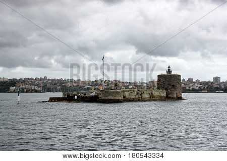 View on the Sydney harbor and seamark in the middle of the frame