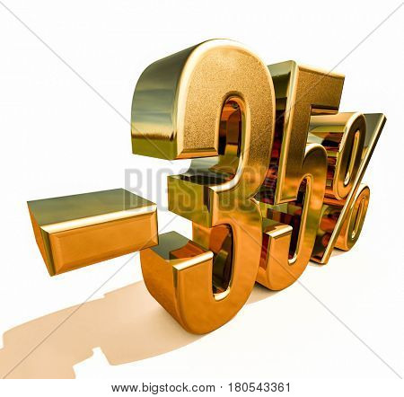 3d render: Gold -35%, Minus Thirty Five Percent Discount Sign