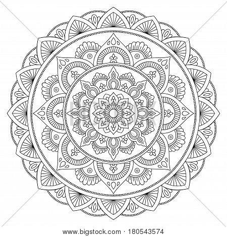 Henna tatoo mandala. Mehndi style. Decorative pattern in oriental style. Coloring book page.