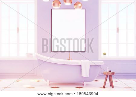 Blue bathroom interior with a blue bath tub a chair with shampoo and a vertical poster in the center. 3d rendering mock up toned image