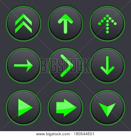 Set of black buttons. Round plastic matted buttons with green arrow symbols. Vector 3d illustration