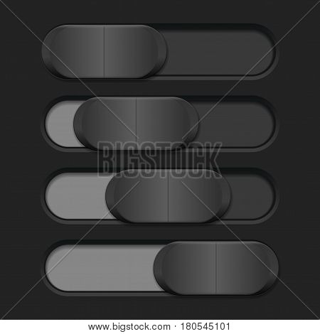 Interface slider. Gray bar on dark background. Vector illustration