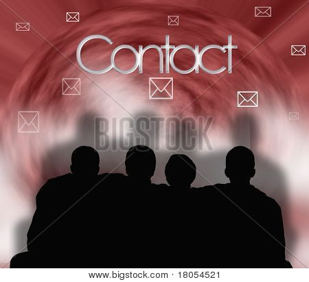 Conceptual illustration of a group of people staying in close contact with each other