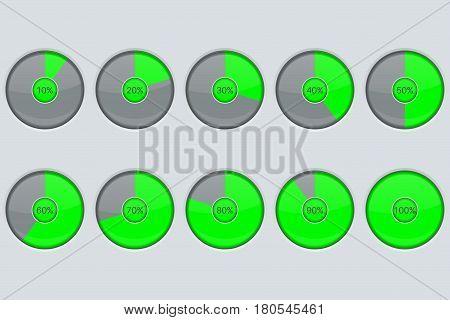 Progress indicator. Green round loading icon. Vector illustration