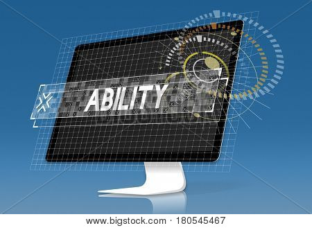Computer screen with ability word graphic word