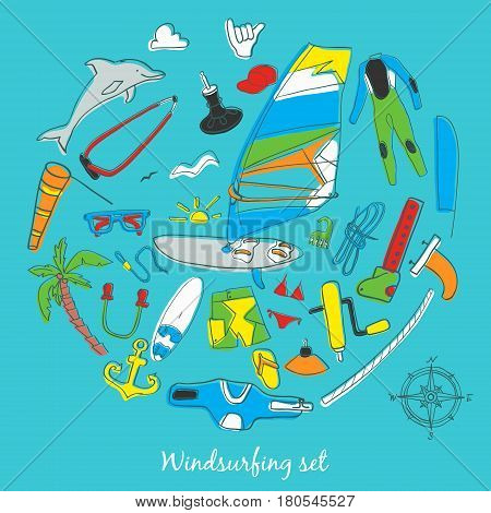 Vector set of windsurfing icons. Board with a sail wetsuit surfboard wind sail. All for lovers of active holidays at sea and active lifestyle. Family summer holiday.