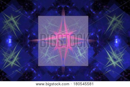 Abstract image of a pink star from strokes on a background of a gray square on a blue background with green dotted stars
