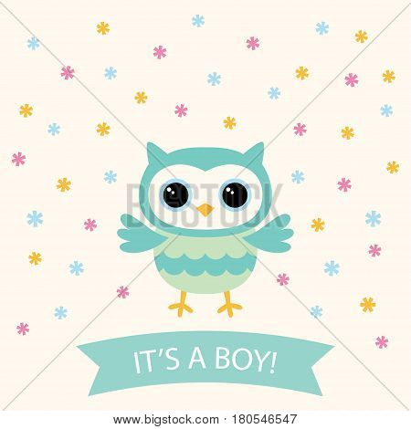 Baby boy arrival card with a cute cartoon owls