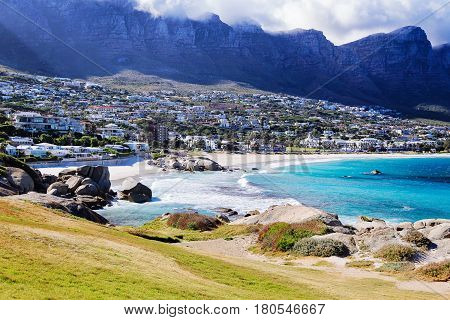 Cape Town South Africa. View at the Camps Bay one of the most beautiful beaches in Cape Town.