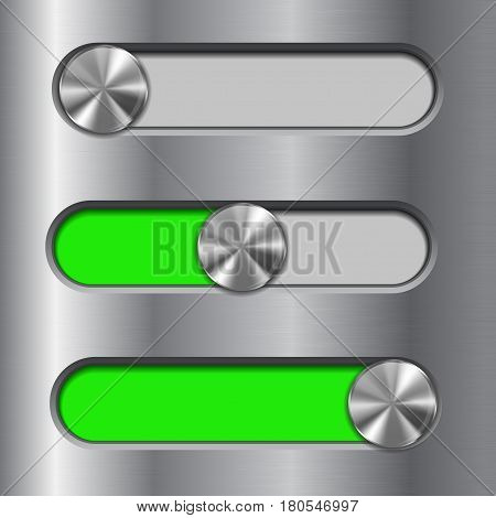 Metal interface slider. Green bar with round button. Vector illustration
