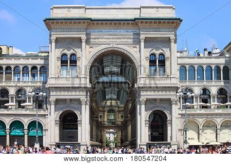 MILAN ITALY - AUGUST 2 2015: Vittorio Emanuele II Gallery on August 2 2015 in Milan. It's one of the world's oldest shopping malls designed and built by Giuseppe Mengoni between 1865 and 1877