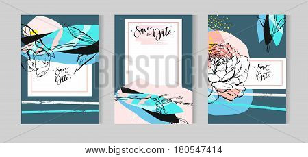 Hand drawn vector abstract creative unusual floral wedding save the date cards template collection set with graphic peony flowers in pastel colors.Spring Weddinganniversarybirthdayparty invitations