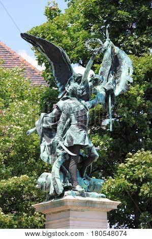 BUDAPEST - JULY 2: Honved szobor statue carved by Gyorgy Zala on July 2 2012 in Budapest Hungary