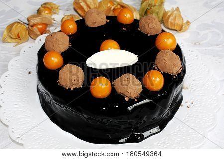 demi glace chocolate truffle physalis cake dessert